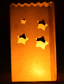 Chunky Stars Candle Bags White - Pk10