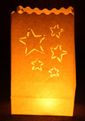 Cut Out Stars Candle Bags White - Pk10