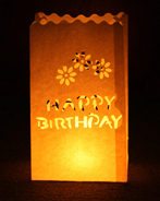 Happy Birthday Candle Bags White - Pk10