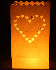 Large Hearts Candle Bags White - Pk5