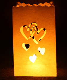 Linked Hearts Candle Bags White - Pk10