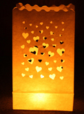 Mini Hearts Candle Bags White - Pk10