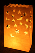 Stars & Moons Candle Bags White - Pk5