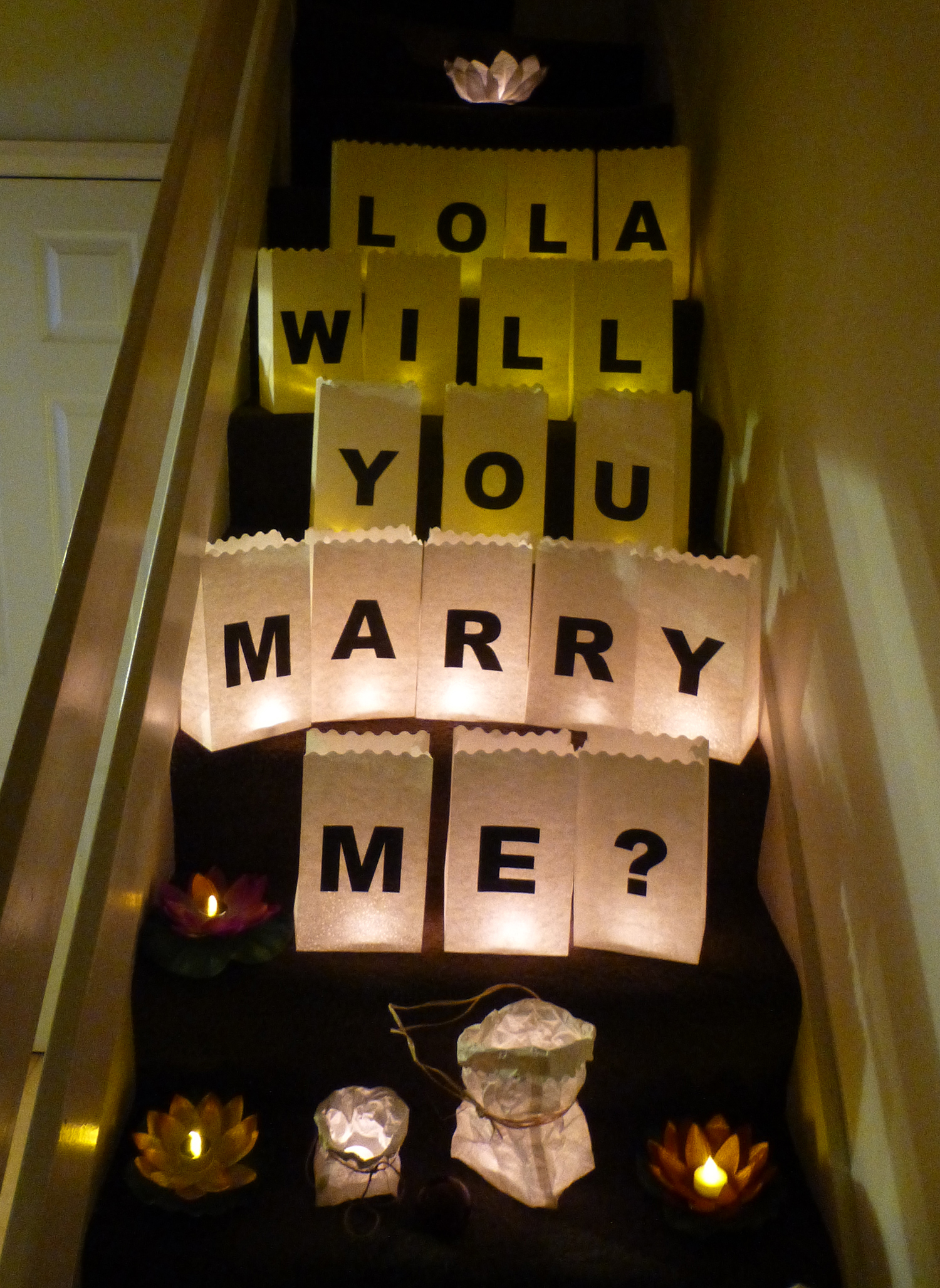 Printed letters luminary candle bags for Marry me light up letters