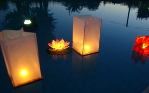 Wood Box floating lanterns